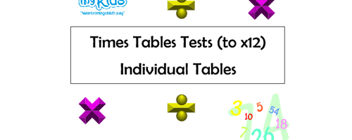 Times Tables / Division Tests (to x12) - Individual Tables